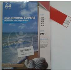 Обложка Plastic А4 0.2 мм красный 100шт