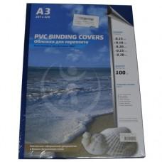 Обложка Plastic А3 0.18 прозрачные/синие 100шт Нарушение целостности упаковки
